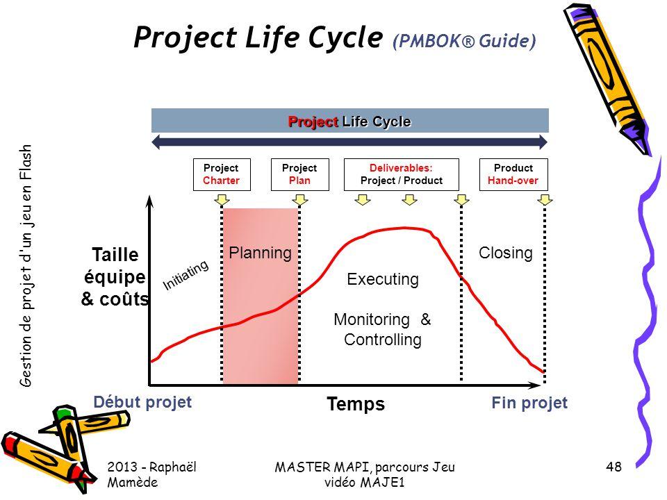 Gestion de projet d'un jeu en Flash 2013 - Raphaël Mamède MASTER MAPI, parcours Jeu vidéo MAJE1 48 Project Life Cycle (PMBOK® Guide) Début projet Fin