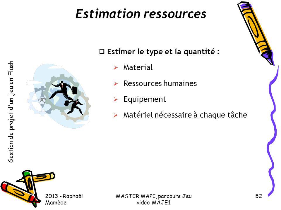Gestion de projet d'un jeu en Flash 2013 - Raphaël Mamède MASTER MAPI, parcours Jeu vidéo MAJE1 52 Estimation ressources  Estimer le type et la quant