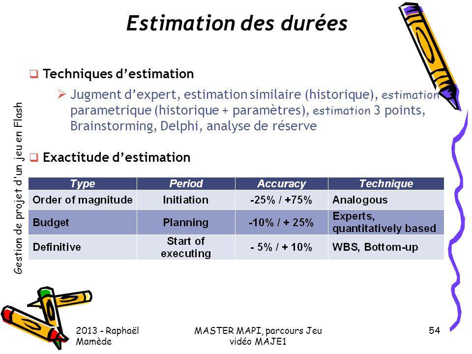Gestion de projet d'un jeu en Flash 2013 - Raphaël Mamède MASTER MAPI, parcours Jeu vidéo MAJE1 54 Estimation des durées  Techniques d'estimation  J