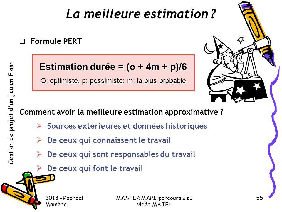 Gestion de projet d'un jeu en Flash 2013 - Raphaël Mamède MASTER MAPI, parcours Jeu vidéo MAJE1 55 La meilleure estimation ?  Formule PERT Comment av