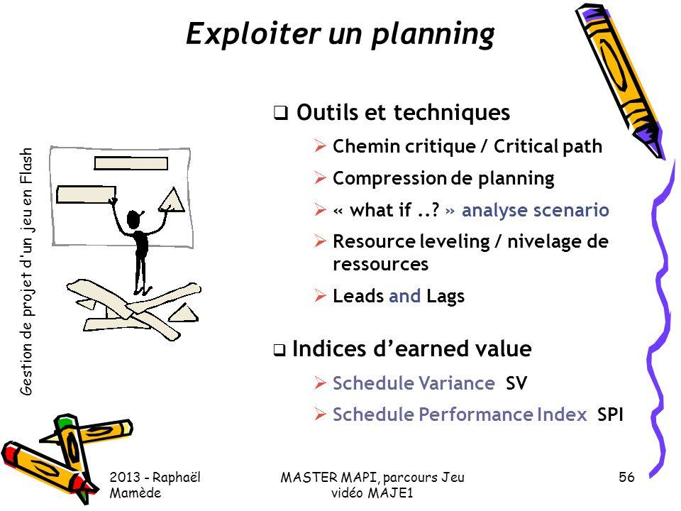 Gestion de projet d'un jeu en Flash 2013 - Raphaël Mamède MASTER MAPI, parcours Jeu vidéo MAJE1 56 Exploiter un planning  Outils et techniques  Chem