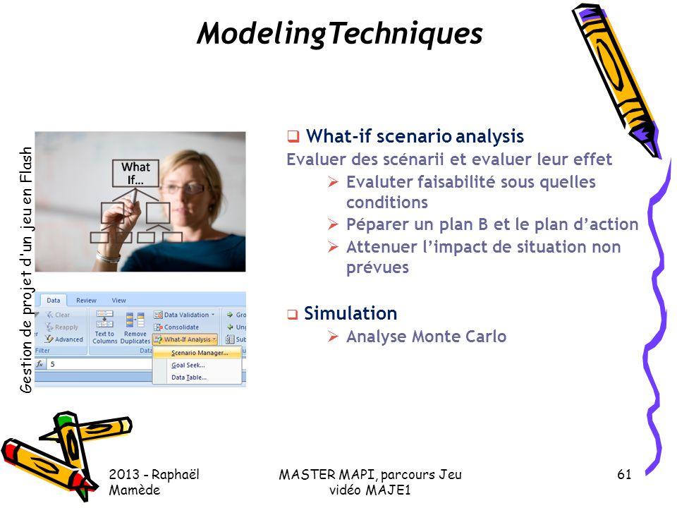Gestion de projet d'un jeu en Flash 2013 - Raphaël Mamède MASTER MAPI, parcours Jeu vidéo MAJE1 61 ModelingTechniques  What-if scenario analysis Eval