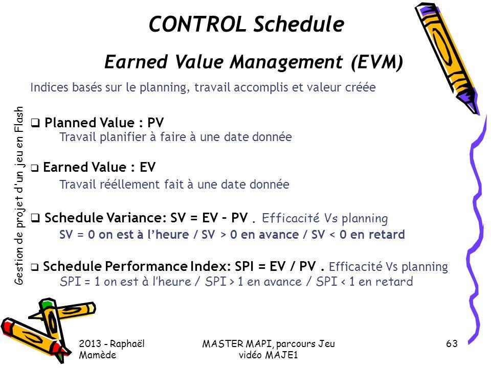 Gestion de projet d'un jeu en Flash 2013 - Raphaël Mamède MASTER MAPI, parcours Jeu vidéo MAJE1 63 CONTROL Schedule Earned Value Management (EVM) Indi