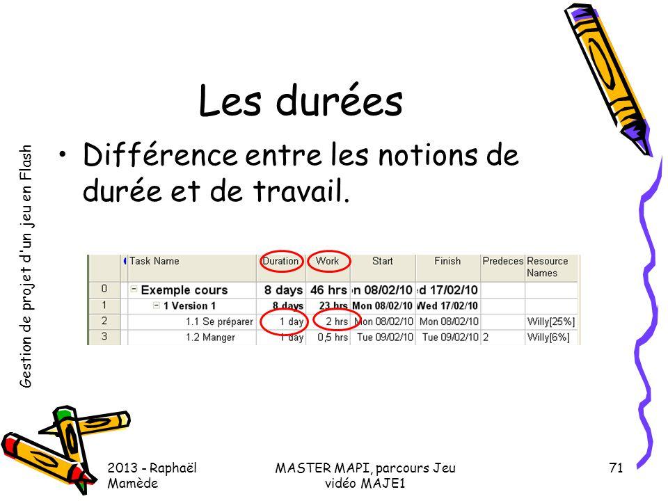 Gestion de projet d'un jeu en Flash 2013 - Raphaël Mamède MASTER MAPI, parcours Jeu vidéo MAJE1 71 Les durées •Différence entre les notions de durée e