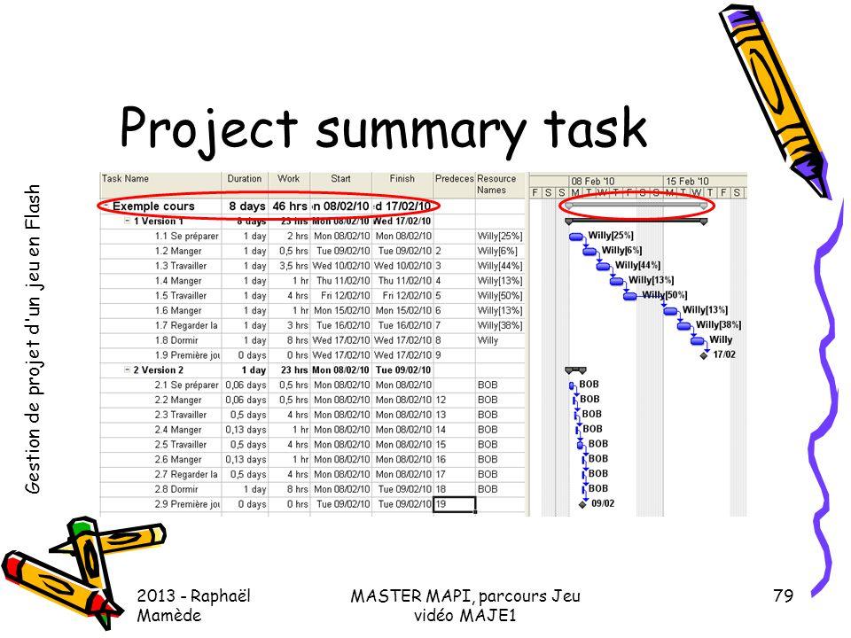 Gestion de projet d'un jeu en Flash 2013 - Raphaël Mamède MASTER MAPI, parcours Jeu vidéo MAJE1 79 Project summary task