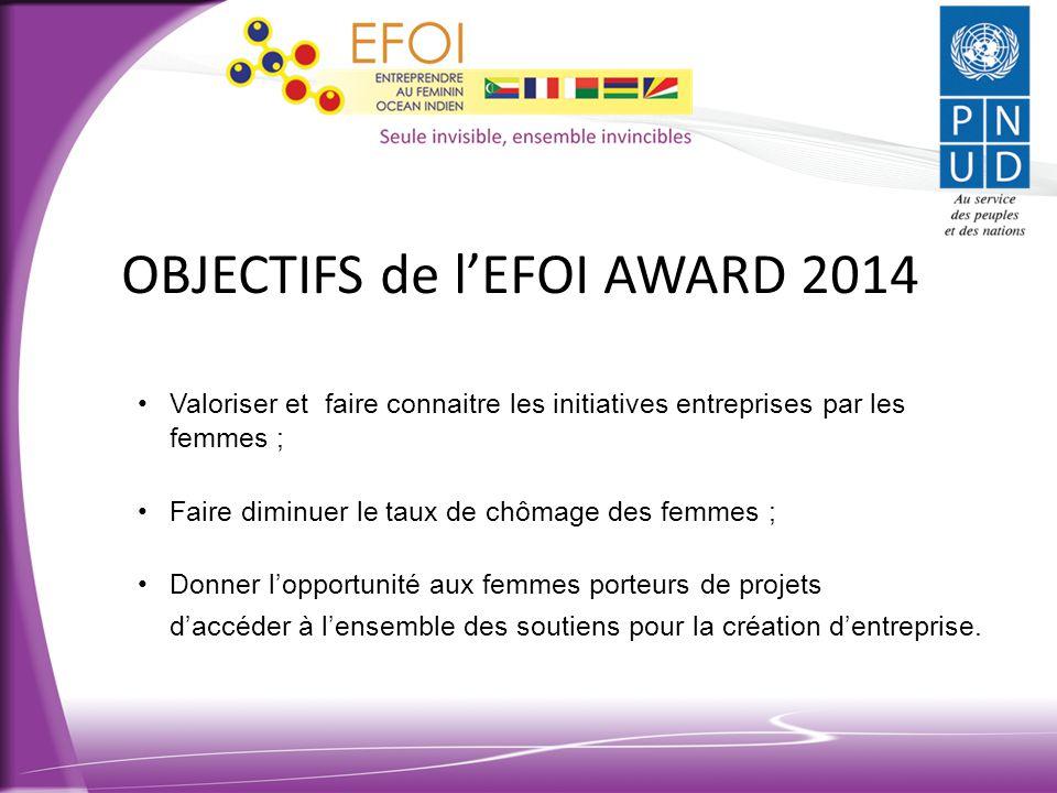 OBJECTIFS de l'EFOI AWARD 2014 •Valoriser et faire connaitre les initiatives entreprises par les femmes ; •Faire diminuer le taux de chômage des femme