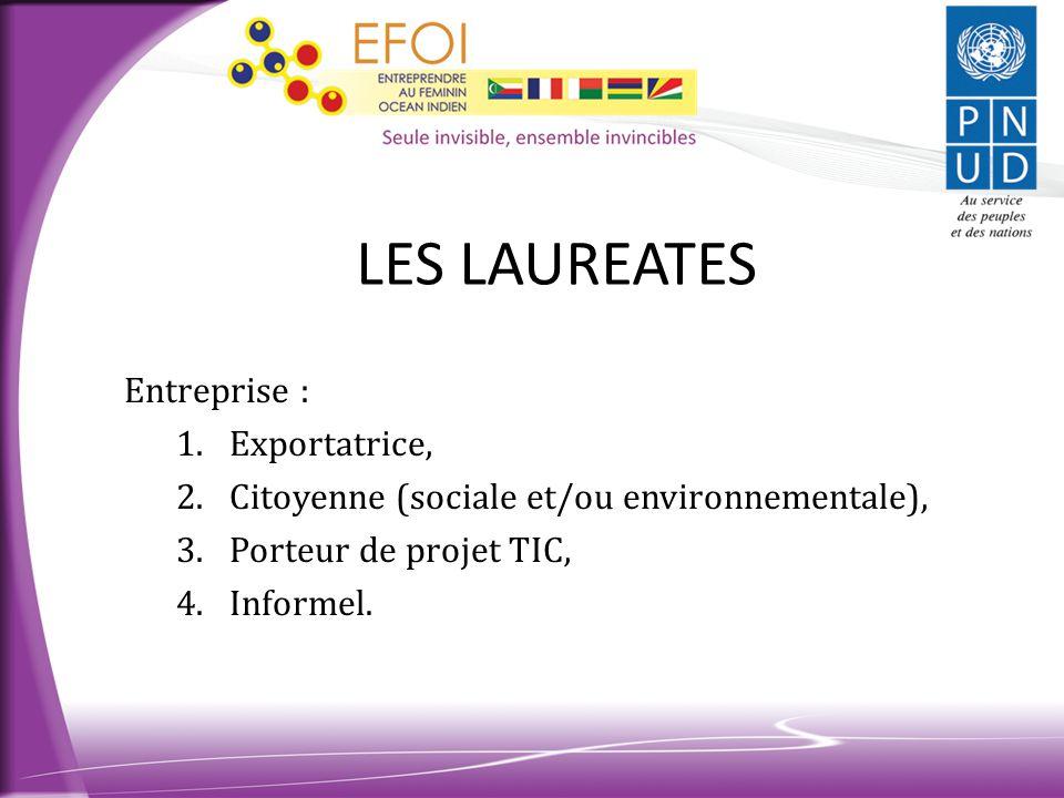 LES LAUREATES Entreprise : 1.Exportatrice, 2.Citoyenne (sociale et/ou environnementale), 3.Porteur de projet TIC, 4.Informel.