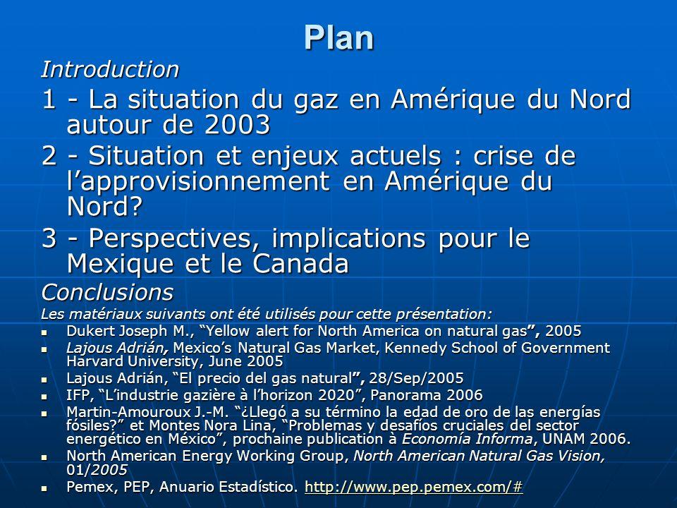 Plan Introduction 1 - La situation du gaz en Amérique du Nord autour de 2003 2 - Situation et enjeux actuels : crise de l'approvisionnement en Amériqu
