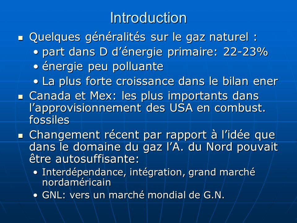Introduction  Quelques généralités sur le gaz naturel : •part dans D d'énergie primaire: 22-23% •énergie peu polluante •La plus forte croissance dans