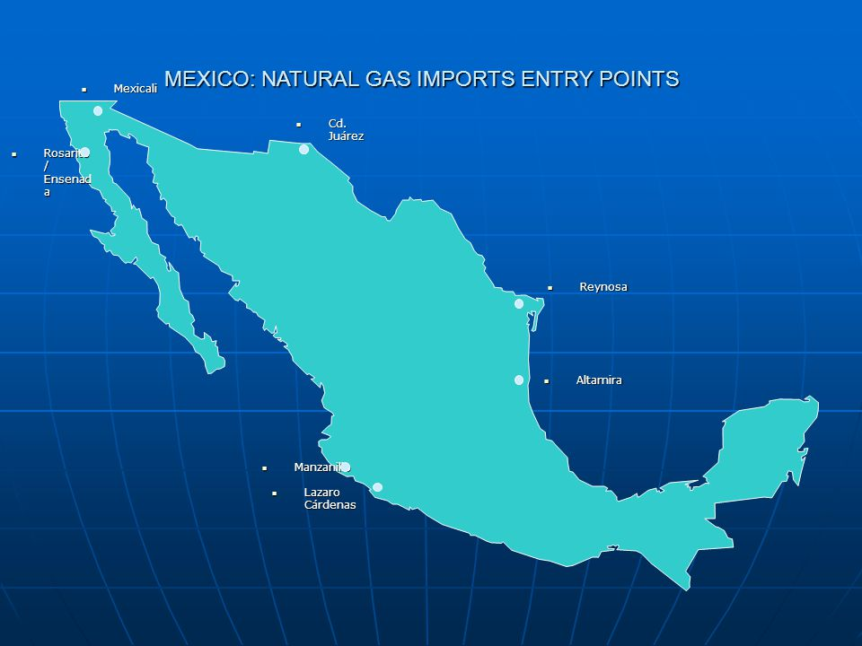 PEMEX: NATURAL GAS FLOWS AND ARBITRAGE POINTS  Mexicali  Chihuahua  Reynosa  Altamira  Rosari to  Sn.