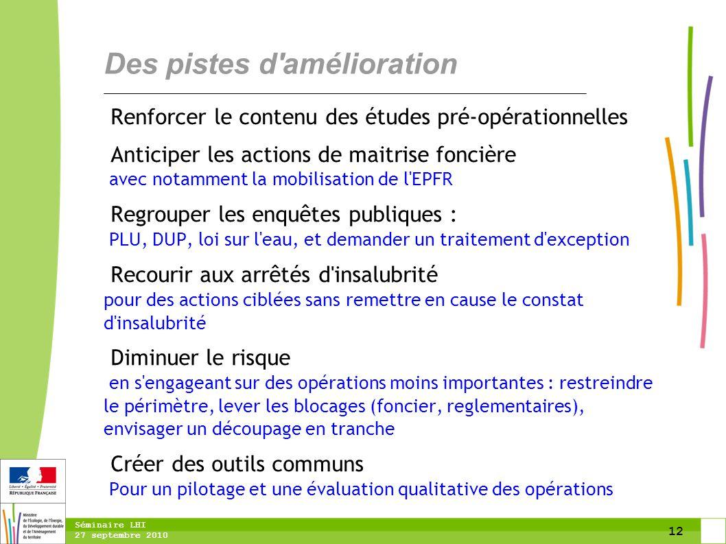 12 Séminaire LHI 27 septembre 2010 Des pistes d'amélioration Renforcer le contenu des études pré-opérationnelles Anticiper les actions de maitrise fon