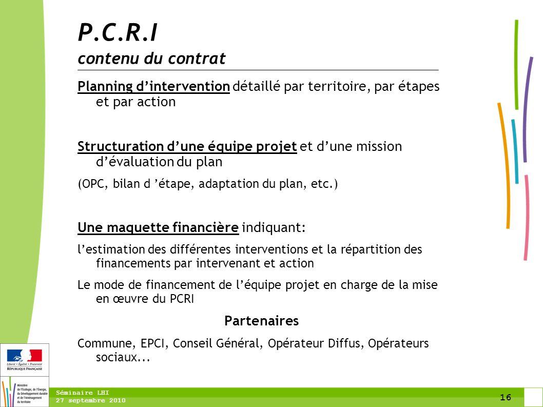 16 Séminaire LHI 27 septembre 2010 Planning d'intervention détaillé par territoire, par étapes et par action Structuration d'une équipe projet et d'un