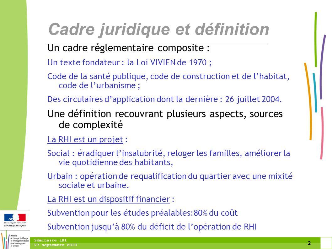 2 Séminaire LHI 27 septembre 2010 Un cadre réglementaire composite : Un texte fondateur : la Loi VIVIEN de 1970 ; Code de la santé publique, code de c