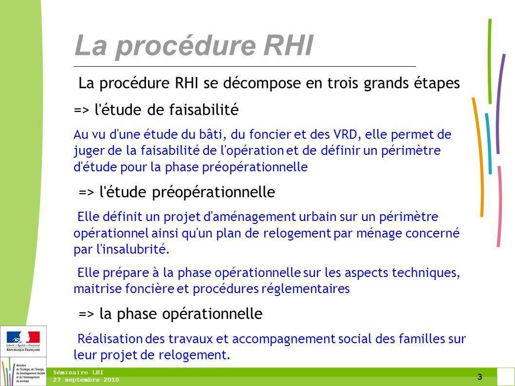 3 Séminaire LHI 27 septembre 2010 La procédure RHI se décompose en trois grands étapes => l'étude de faisabilité Au vu d'une étude du bâti, du foncier