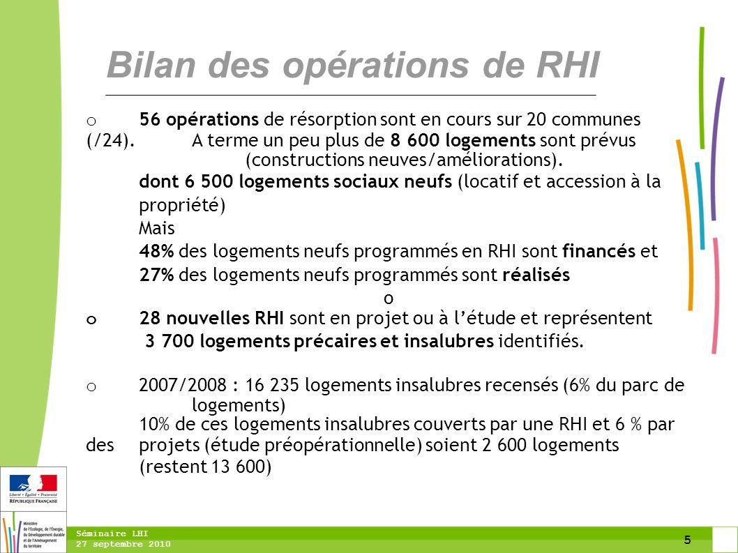 5 Séminaire LHI 27 septembre 2010 Bilan des opérations de RHI o 56 opérations de résorption sont en cours sur 20 communes (/24). A terme un peu plus d
