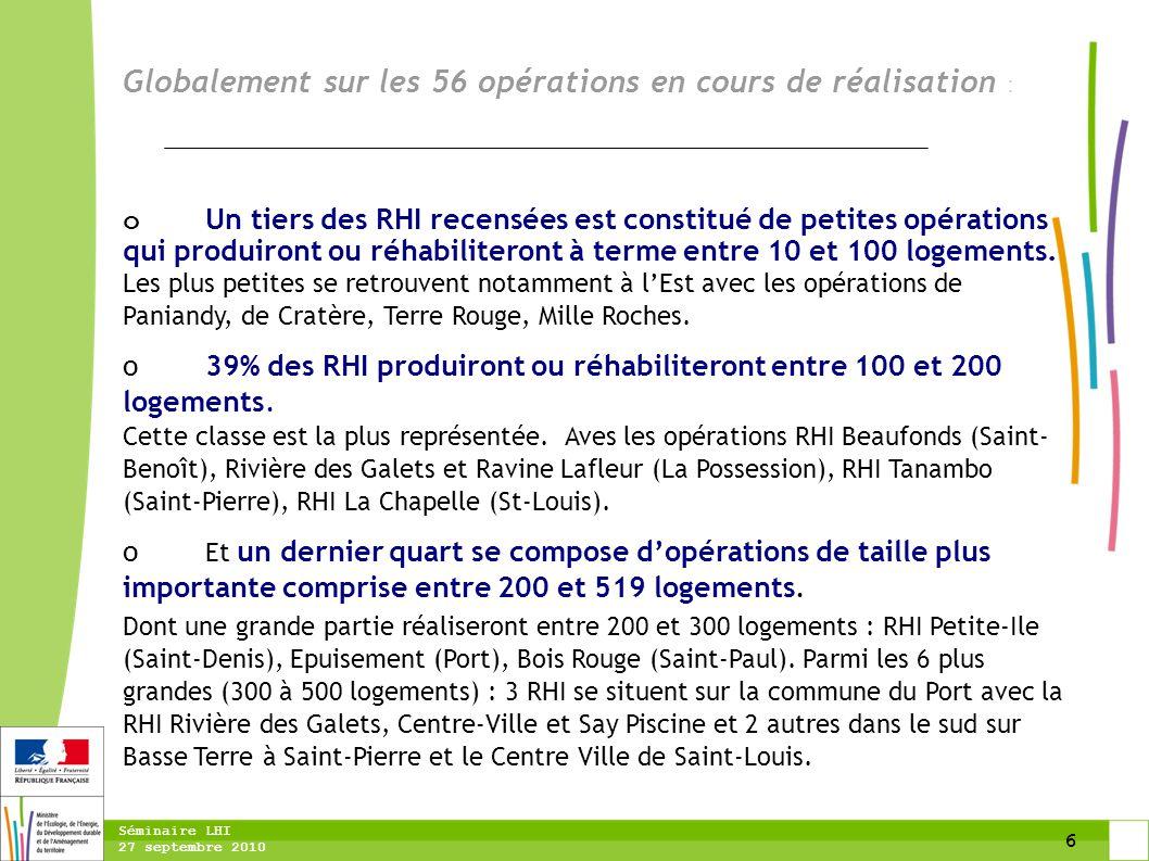 6 Séminaire LHI 27 septembre 2010 Globalement sur les 56 opérations en cours de réalisation : o Un tiers des RHI recensées est constitué de petites op