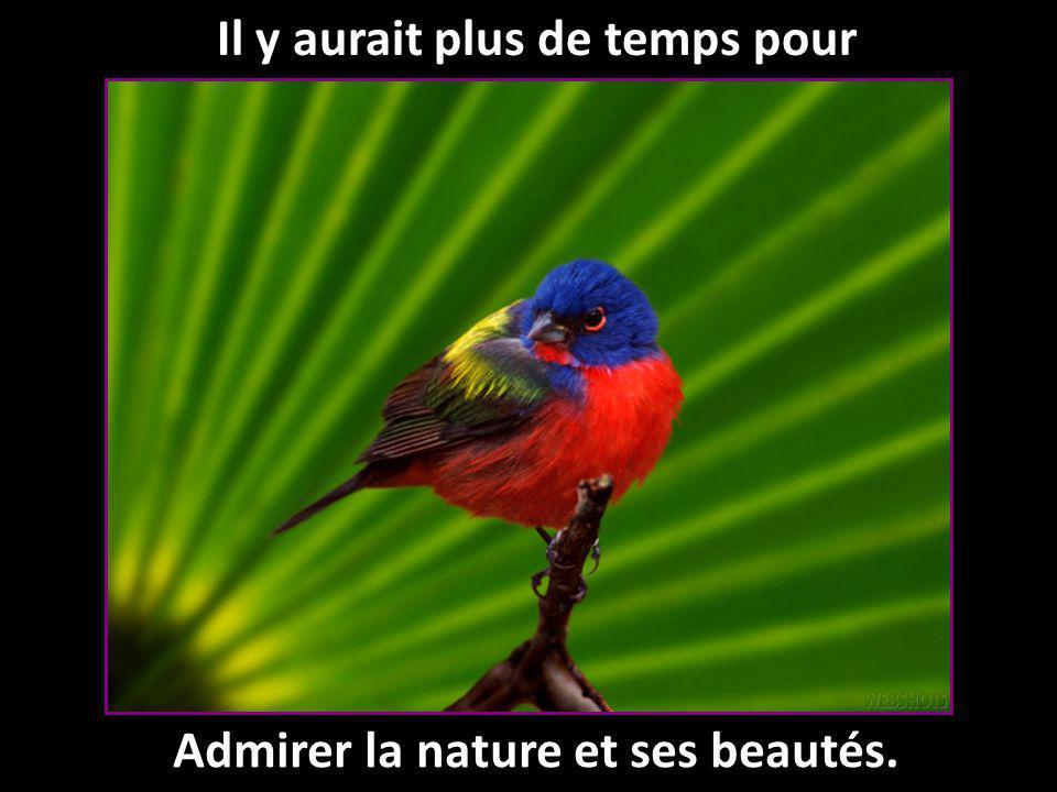 Il y aurait plus de temps pour Admirer la nature et ses beautés.
