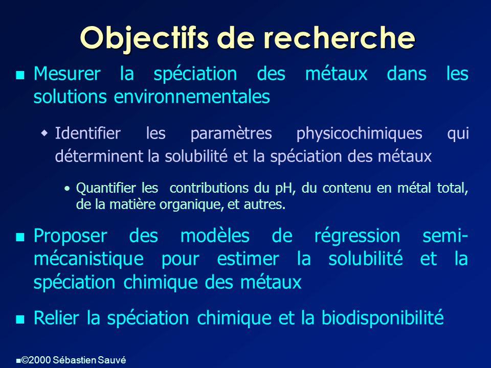  ©2000 Sébastien Sauvé Objectifs de recherche  Mesurer la spéciation des métaux dans les solutions environnementales  Identifier les paramètres phy