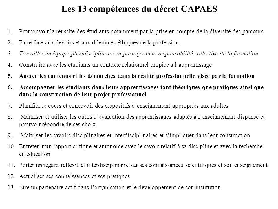Les 13 compétences du décret CAPAES 1.Promouvoir la réussite des étudiants notamment par la prise en compte de la diversité des parcours 2.Faire face