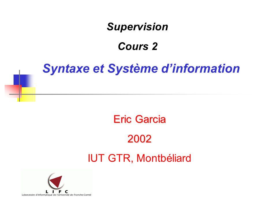 Syntaxe et Système d'information Eric Garcia 2002 IUT GTR, Montbéliard Supervision Cours 2