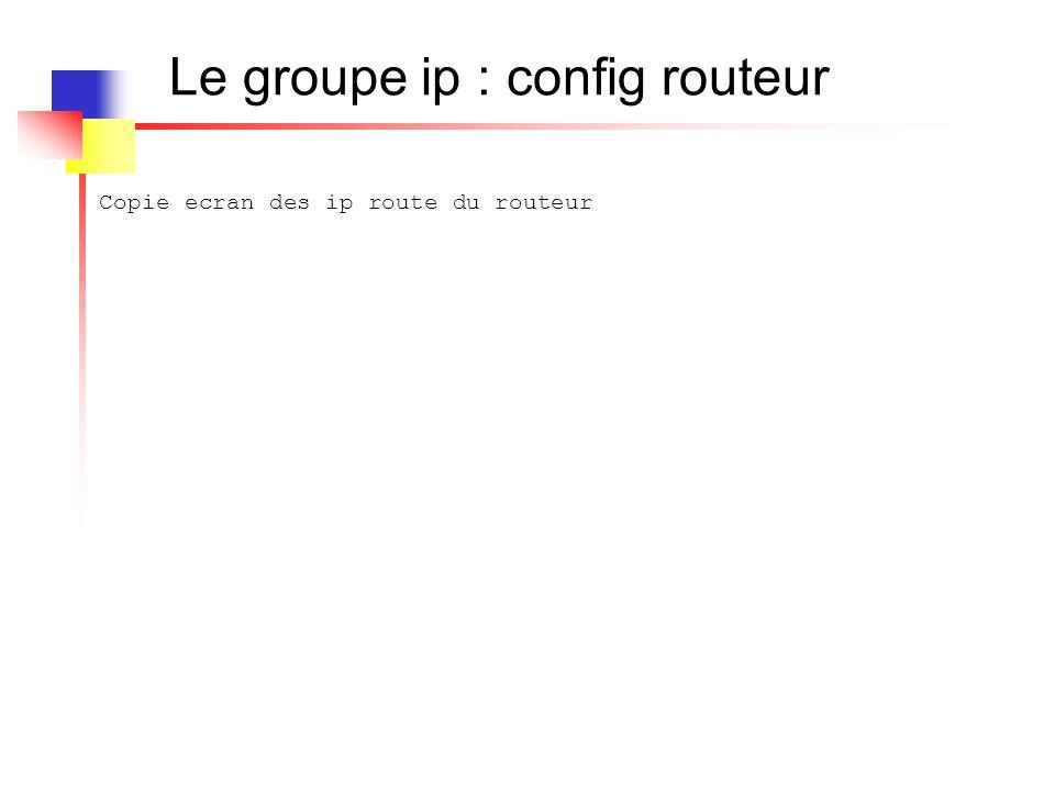 Le groupe ip : config routeur Copie ecran des ip route du routeur