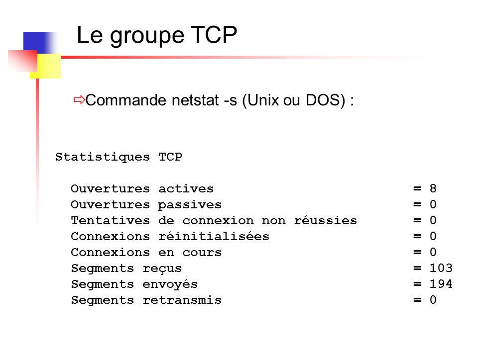 Le groupe TCP Statistiques TCP Ouvertures actives = 8 Ouvertures passives = 0 Tentatives de connexion non réussies = 0 Connexions réinitialisées = 0 C