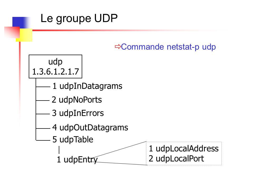 Le groupe UDP udp 1.3.6.1.2.1.7 1 udpInDatagrams 1 udpEntry 1 udpLocalAddress 2 udpLocalPort 2 udpNoPorts 3 udpInErrors 4 udpOutDatagrams 5 udpTable 