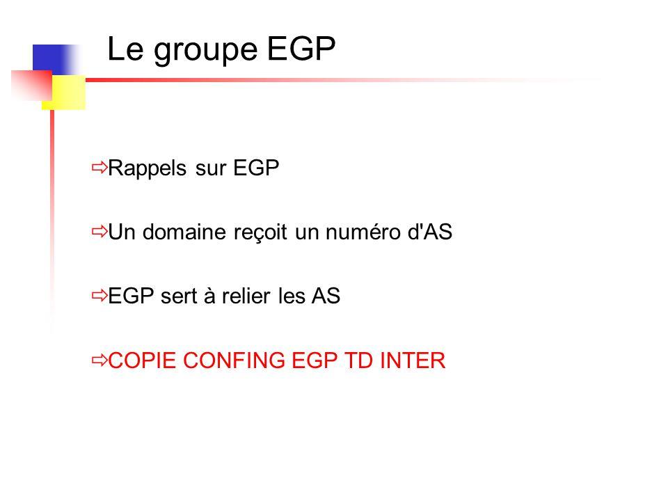 Le groupe EGP  Rappels sur EGP  Un domaine reçoit un numéro d'AS  EGP sert à relier les AS  COPIE CONFING EGP TD INTER