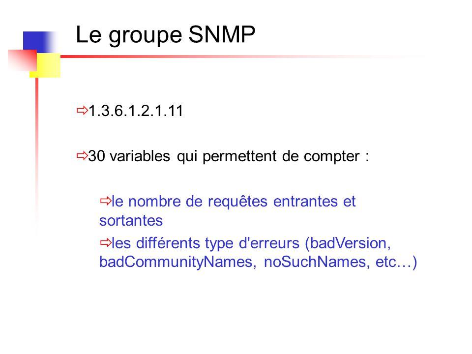 Le groupe SNMP  1.3.6.1.2.1.11  30 variables qui permettent de compter :  le nombre de requêtes entrantes et sortantes  les différents type d'erre