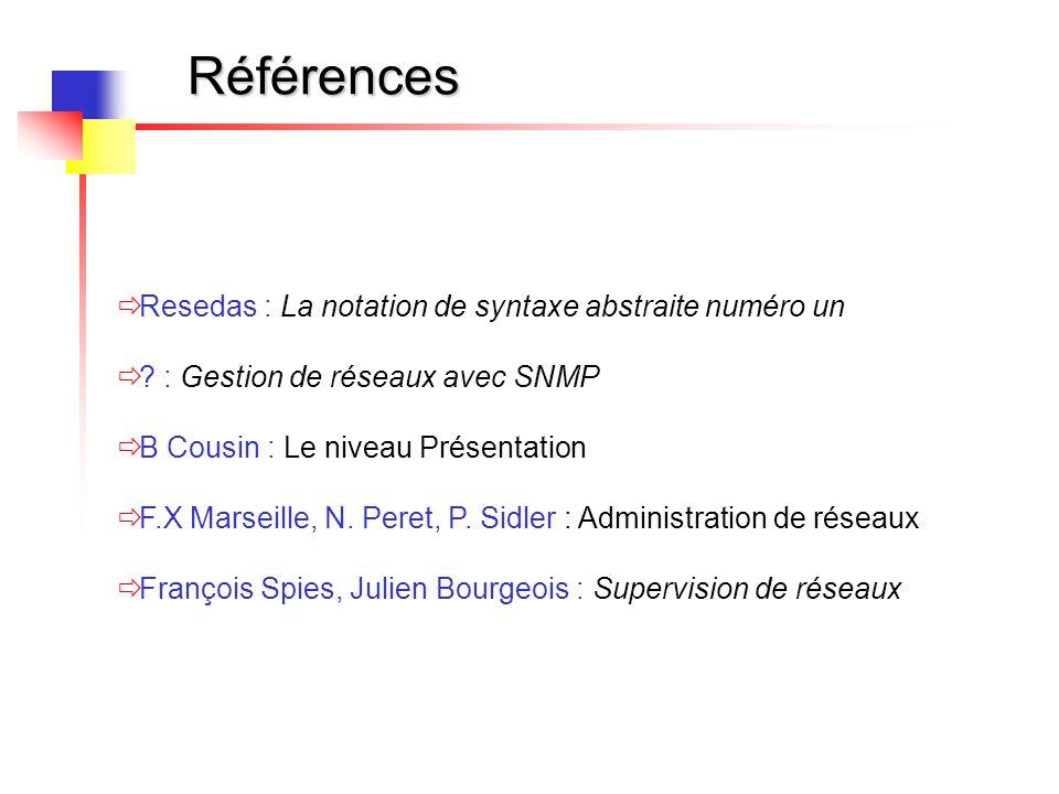 Références  Resedas : La notation de syntaxe abstraite numéro un  ? : Gestion de réseaux avec SNMP  B Cousin : Le niveau Présentation  F.X Marseil