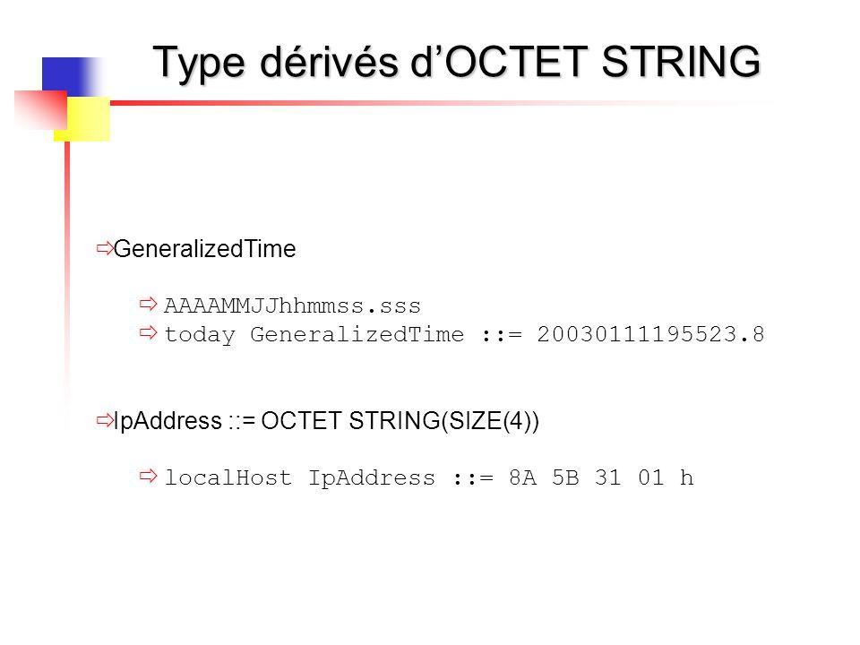 Type dérivés d'OCTET STRING  GeneralizedTime  AAAAMMJJhhmmss.sss  today GeneralizedTime ::= 20030111195523.8  IpAddress ::= OCTET STRING(SIZE(4))