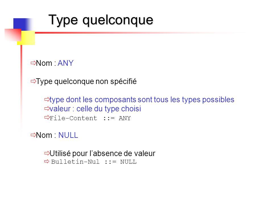 Type quelconque  Nom : ANY  Type quelconque non spécifié  type dont les composants sont tous les types possibles  valeur : celle du type choisi 
