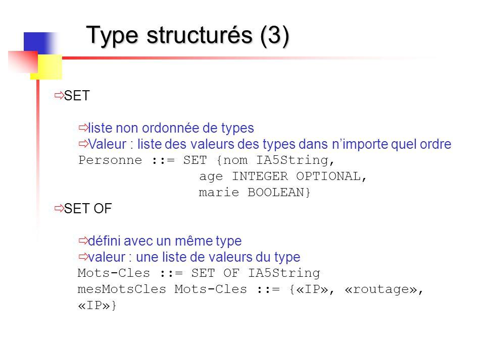 Type structurés (3)  SET  liste non ordonnée de types  Valeur : liste des valeurs des types dans n'importe quel ordre Personne ::= SET {nom IA5Stri