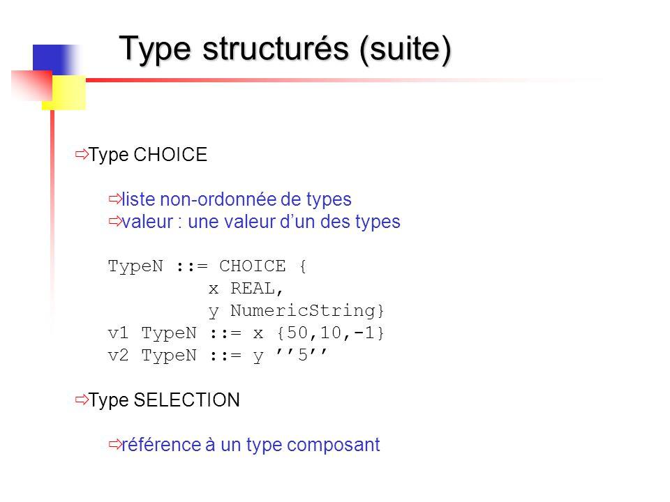 Type structurés (suite)  Type CHOICE  liste non-ordonnée de types  valeur : une valeur d'un des types TypeN ::= CHOICE { x REAL, y NumericString} v