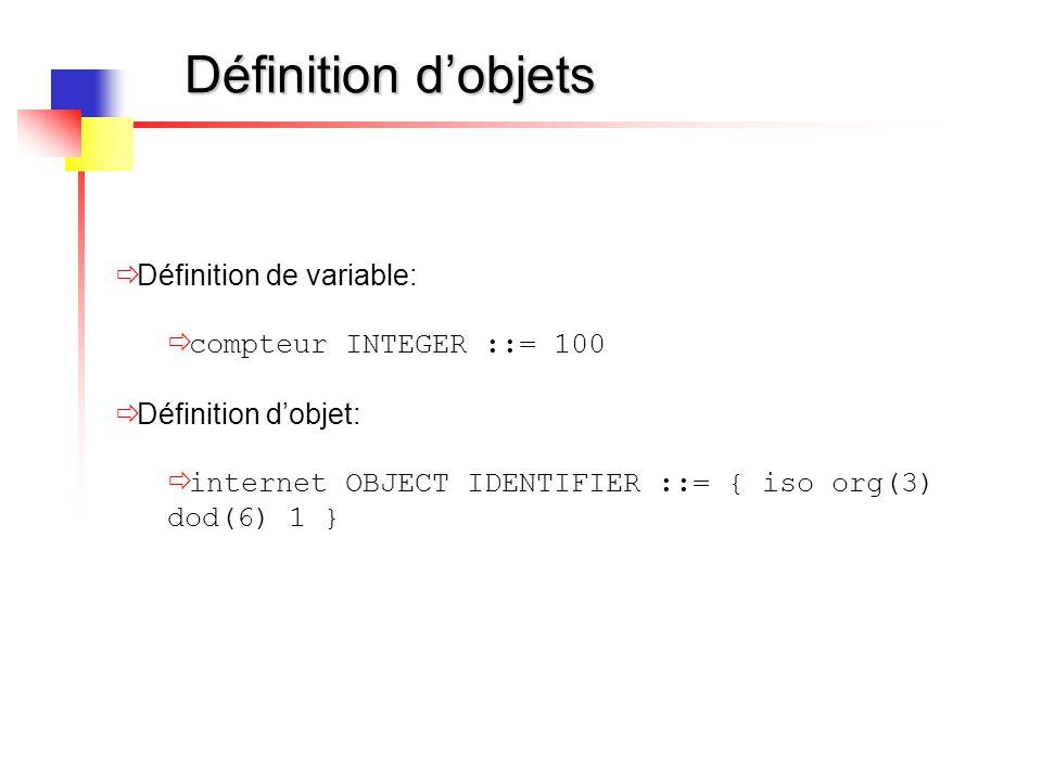 Définition d'objets  Définition de variable:  compteur INTEGER ::= 100  Définition d'objet:  internet OBJECT IDENTIFIER ::= { iso org(3) dod(6) 1