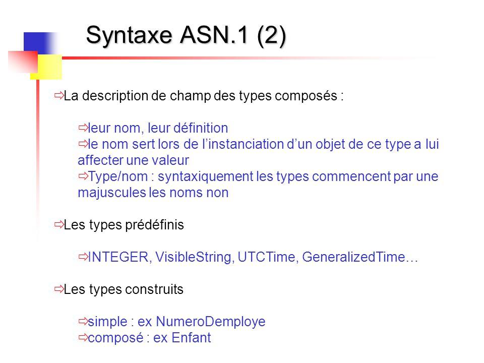 Syntaxe ASN.1 (2)  La description de champ des types composés :  leur nom, leur définition  le nom sert lors de l'instanciation d'un objet de ce ty