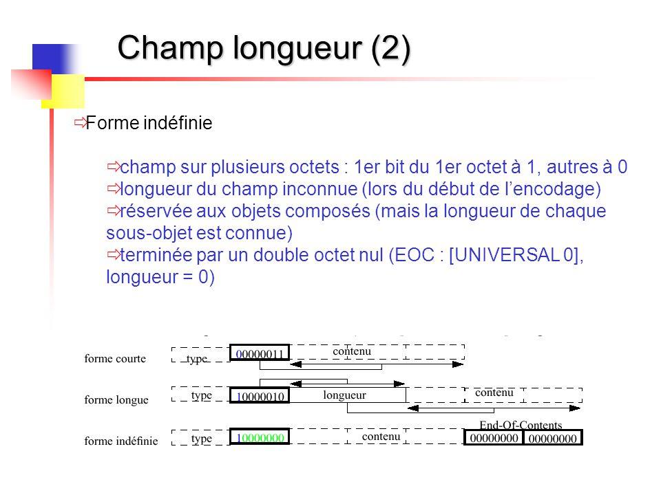 Champ longueur (2)  Forme indéfinie  champ sur plusieurs octets : 1er bit du 1er octet à 1, autres à 0  longueur du champ inconnue (lors du début d