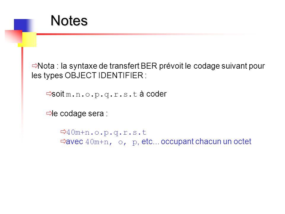 Notes  Nota : la syntaxe de transfert BER prévoit le codage suivant pour les types OBJECT IDENTIFIER :  soit m.n.o.p.q.r.s.t à coder  le codage ser