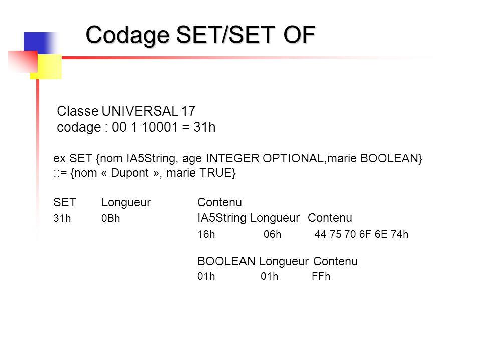 Codage SET/SET OF Classe UNIVERSAL 17 codage : 00 1 10001 = 31h ex SET {nom IA5String, age INTEGER OPTIONAL,marie BOOLEAN} ::= {nom « Dupont », marie