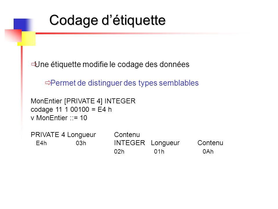 Codage d'étiquette  Une étiquette modifie le codage des données  Permet de distinguer des types semblables MonEntier [PRIVATE 4] INTEGER codage 11 1