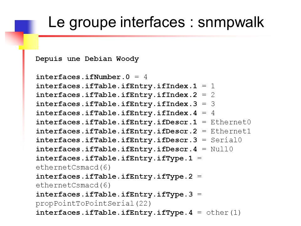 Le groupe interfaces : snmpwalk Depuis une Debian Woody interfaces.ifNumber.0 = 4 interfaces.ifTable.ifEntry.ifIndex.1 = 1 interfaces.ifTable.ifEntry.