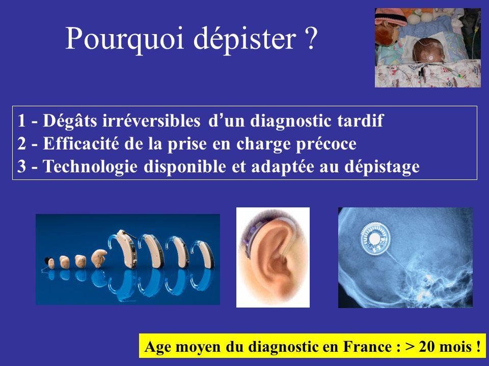 Pourquoi dépister ? 1 - Dégâts irréversibles d ' un diagnostic tardif 2 - Efficacité de la prise en charge précoce 3 - Technologie disponible et adapt