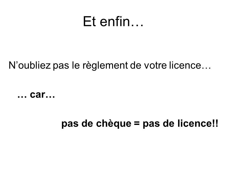 Et enfin… N'oubliez pas le règlement de votre licence… … car… pas de chèque = pas de licence!!