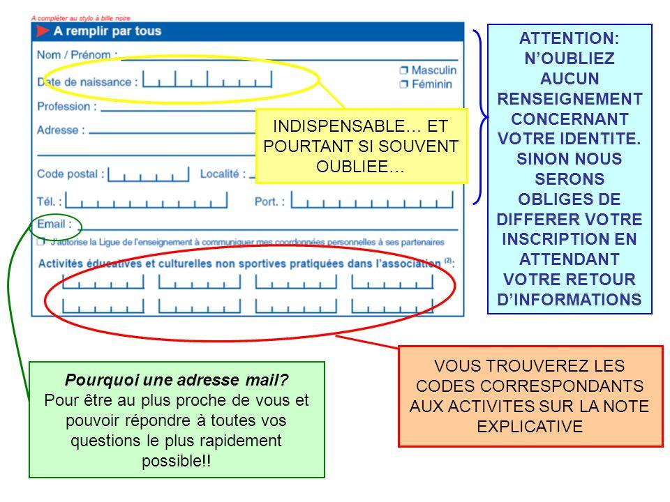 VOUS TROUVEREZ LES CODES CORRESPONDANTS AUX ACTIVITES SUR LA NOTE EXPLICATIVE ATTENTION: N'OUBLIEZ AUCUN RENSEIGNEMENT CONCERNANT VOTRE IDENTITE.