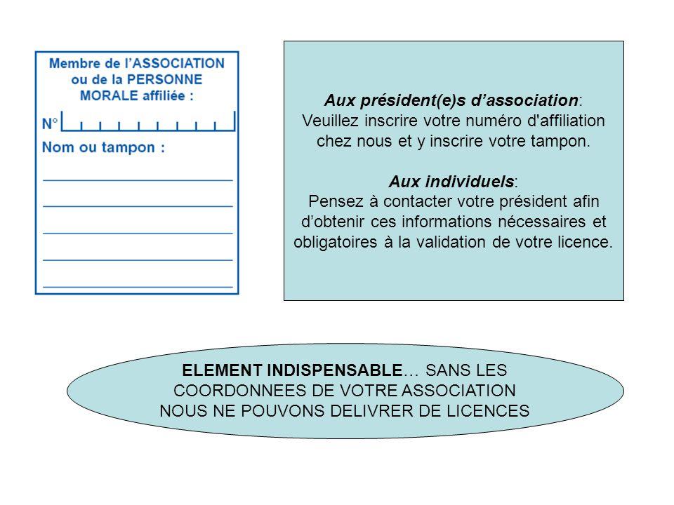 Aux président(e)s d'association: Veuillez inscrire votre numéro d affiliation chez nous et y inscrire votre tampon.