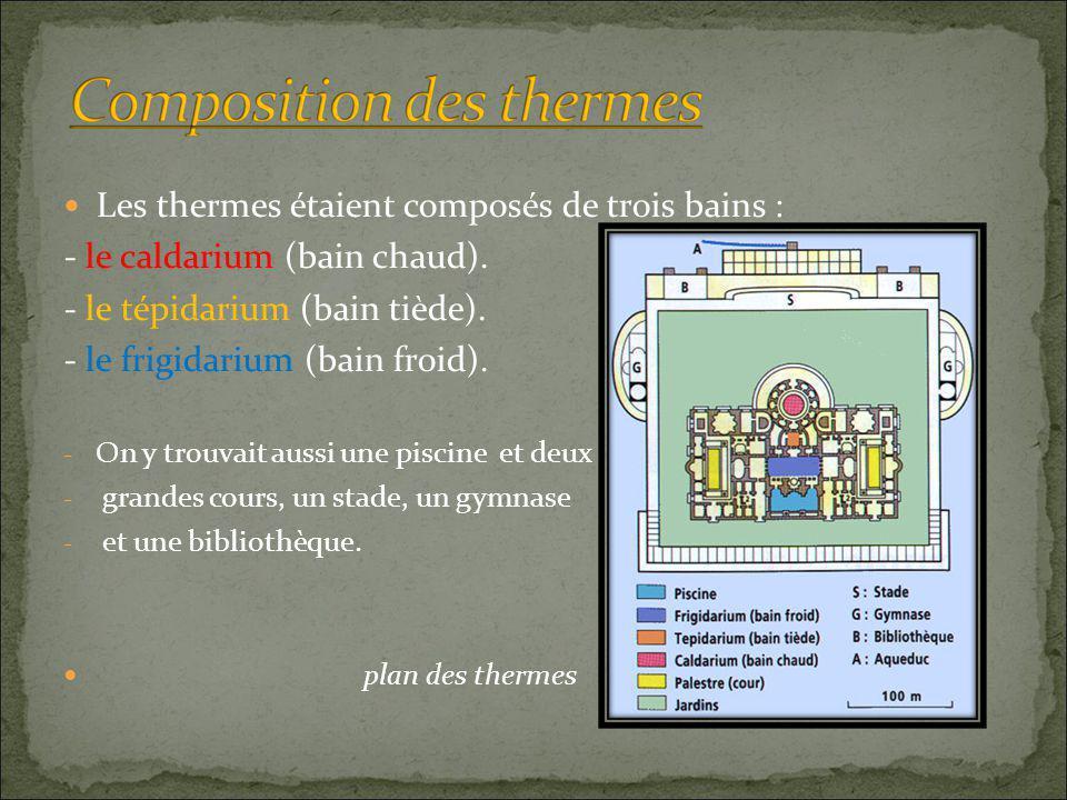  Les thermes étaient composés de trois bains : - le caldarium (bain chaud).