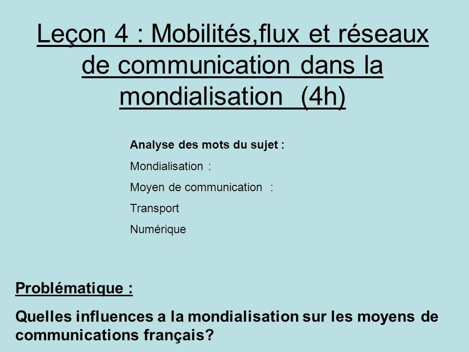 Leçon 4 : Mobilités,flux et réseaux de communication dans la mondialisation (4h) Problématique : Quelles influences a la mondialisation sur les moyens de communications français.