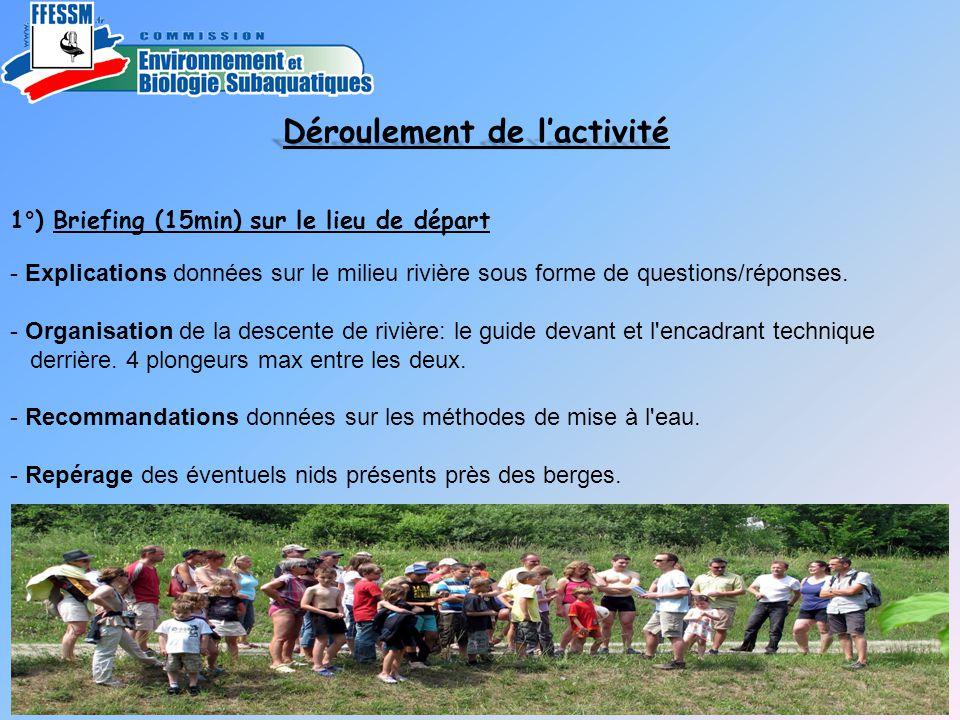 1°) Briefing (15min) sur le lieu de départ - Explications données sur le milieu rivière sous forme de questions/réponses. - Organisation de la descent