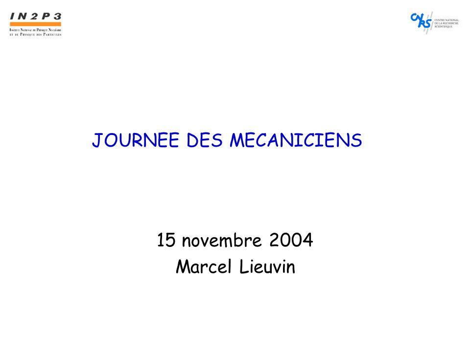 JOURNEE DES MECANICIENS 15 novembre 2004 Marcel Lieuvin