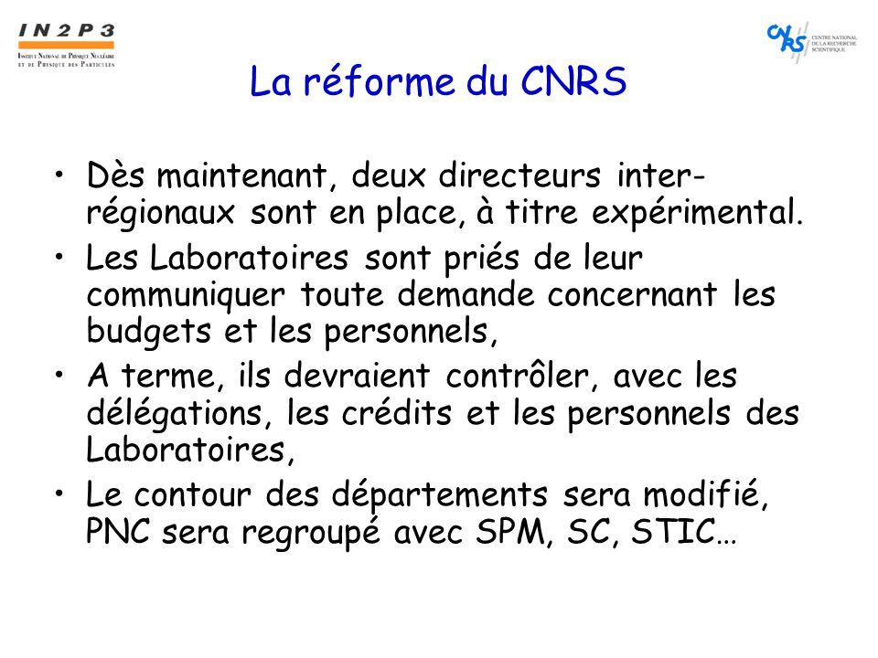 La réforme du CNRS •Dès maintenant, deux directeurs inter- régionaux sont en place, à titre expérimental.